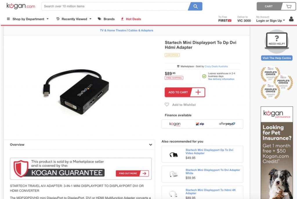 Kogan HDMI Landing Page