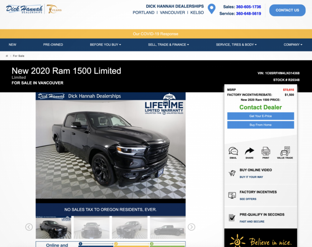 Dick Hannah Dealerships Product page