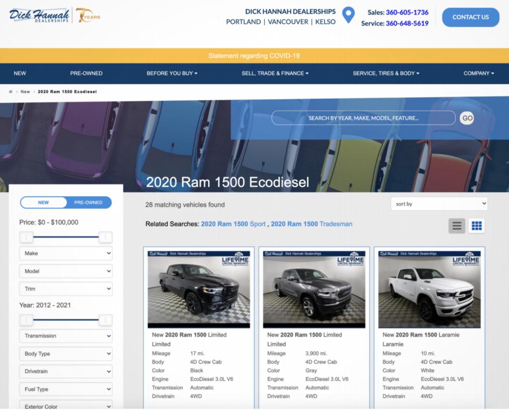 Dick Hannah Dealerships Homepage