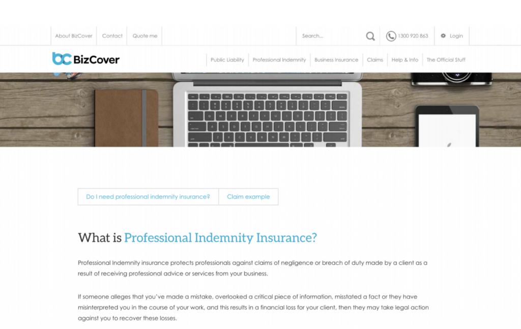 BizCover Insurance Landing page